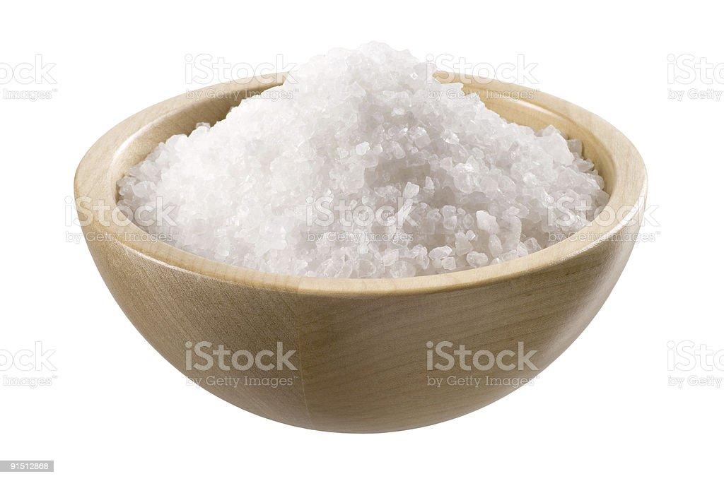 Морской соли в Деревянная Чаша Стоковые фото Стоковая фотография