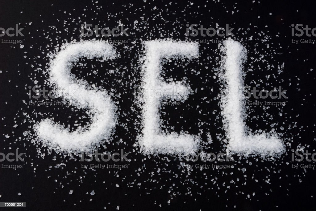 Coarse-grained sea salt stock photo