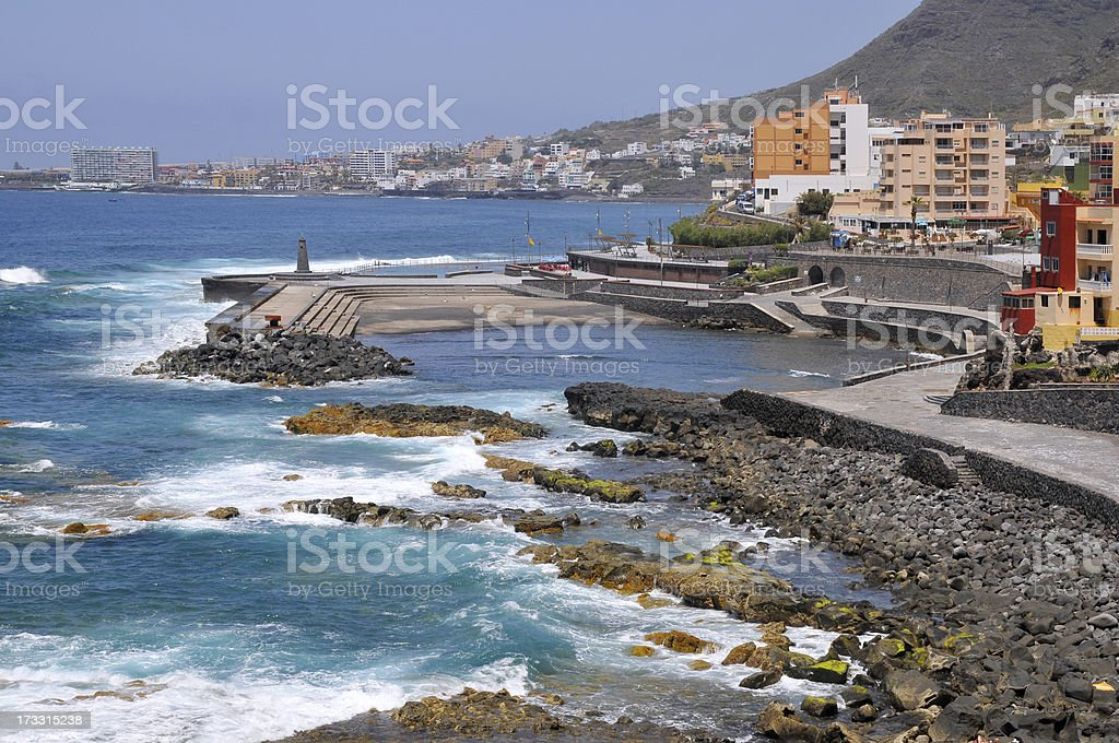 Coast and beach of Bajamar at Tenerife royalty-free stock photo