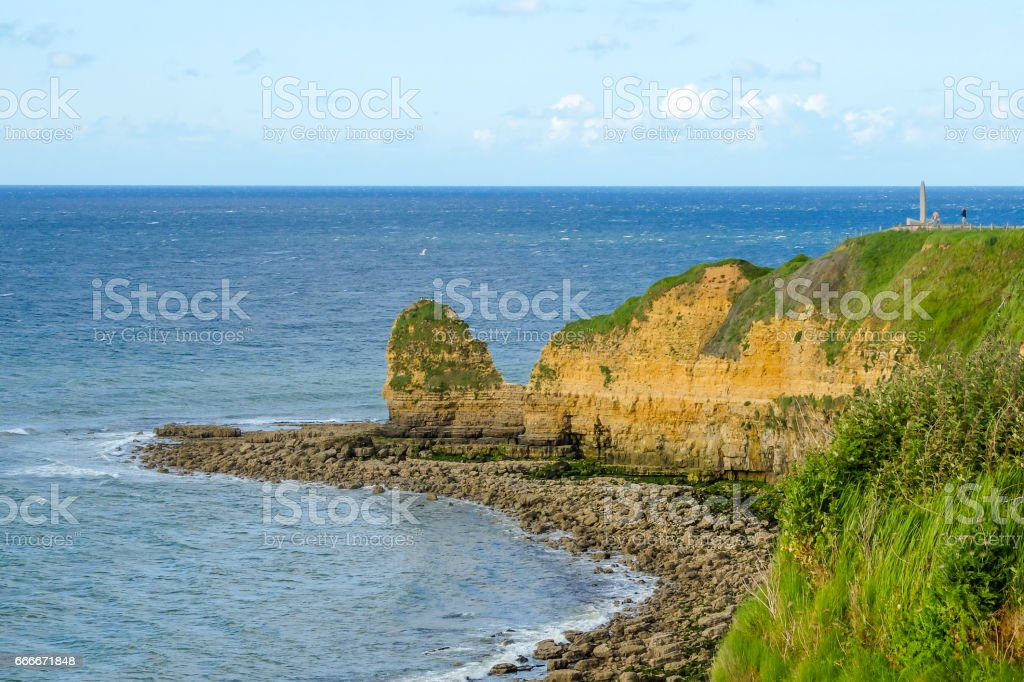 Coast and cliffs of Pointe du Hoc, Normandy stock photo