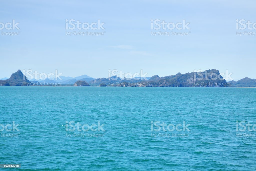 Coast and hills in Surat Thani province stock photo