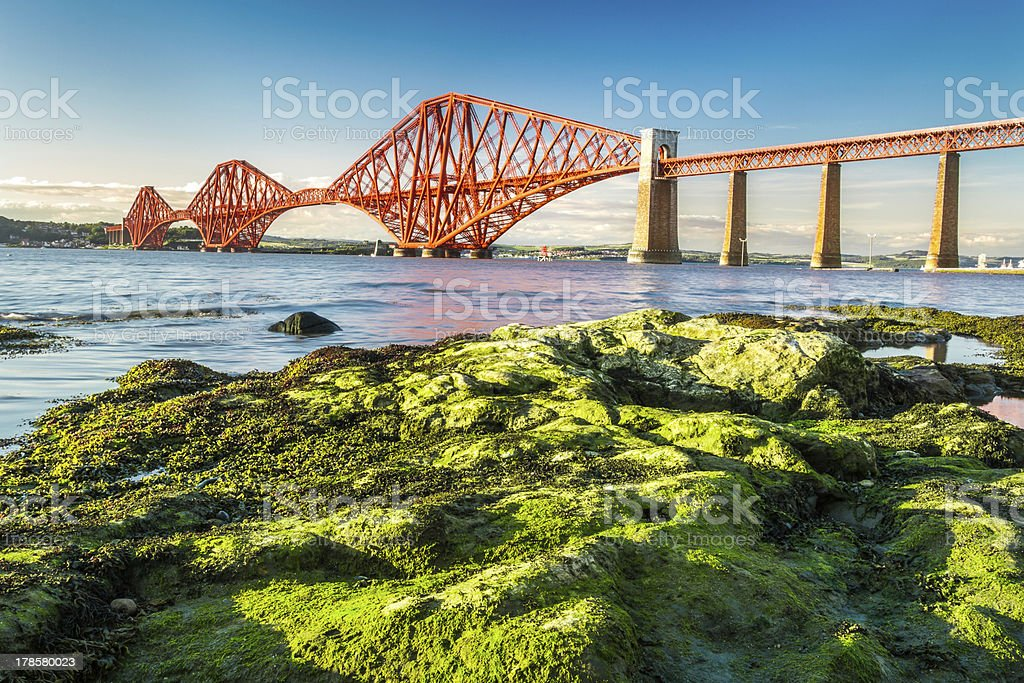Coast at low tide near the Firth of Forth Bridge stock photo