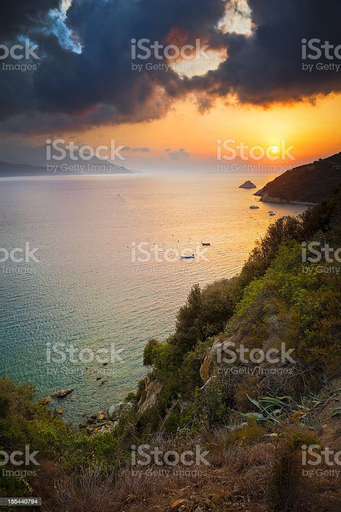 Coast at sunset, Elba Island stock photo