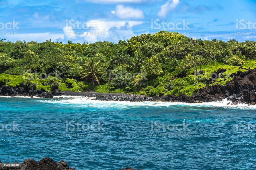 Coast at Waianapanapa State Park, Maui, Hawaii stock photo