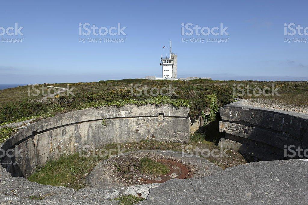 Coast battery in Cap de la Chèvre, Brittany, France stock photo
