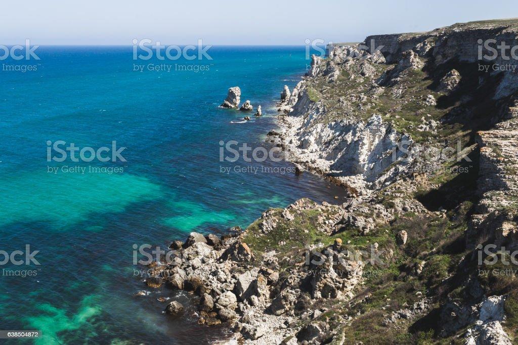 Coast Dzhangul in Crimea. Idyllic paradise landscape stock photo