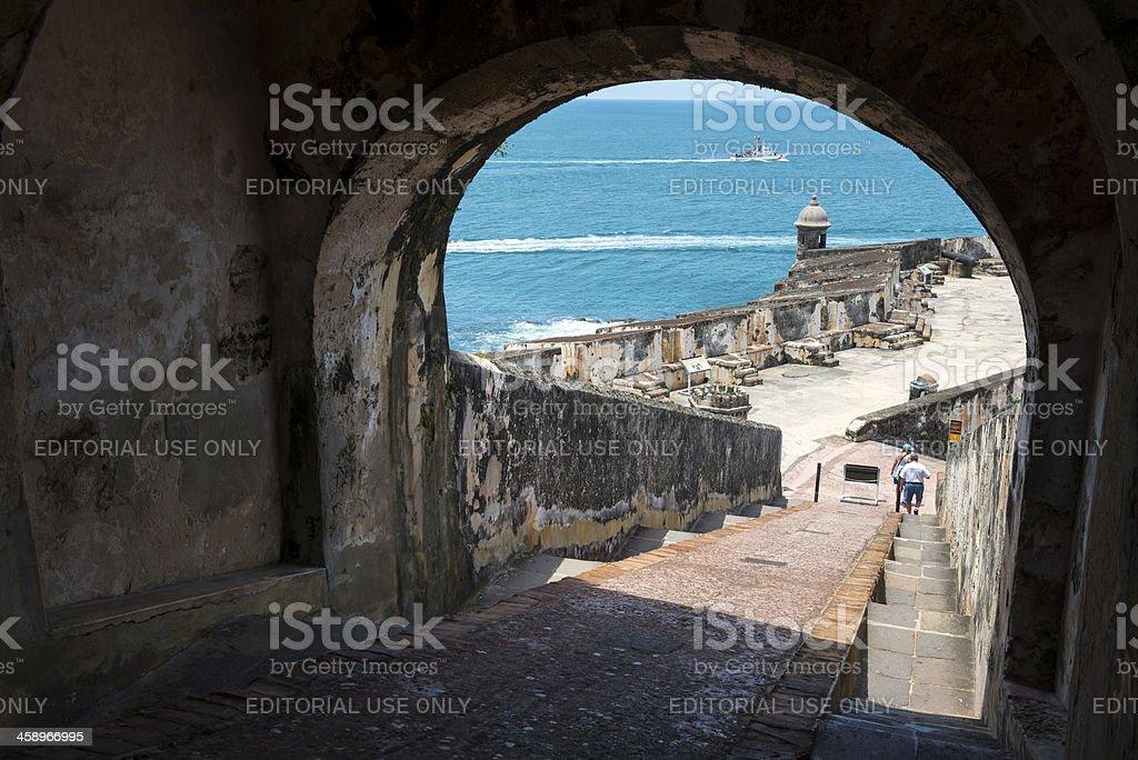 U.S. Coast Guard and castle in Puerto Rico stock photo