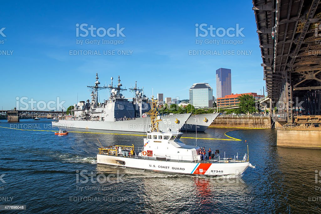 Coast Guard and Steel Bridge stock photo