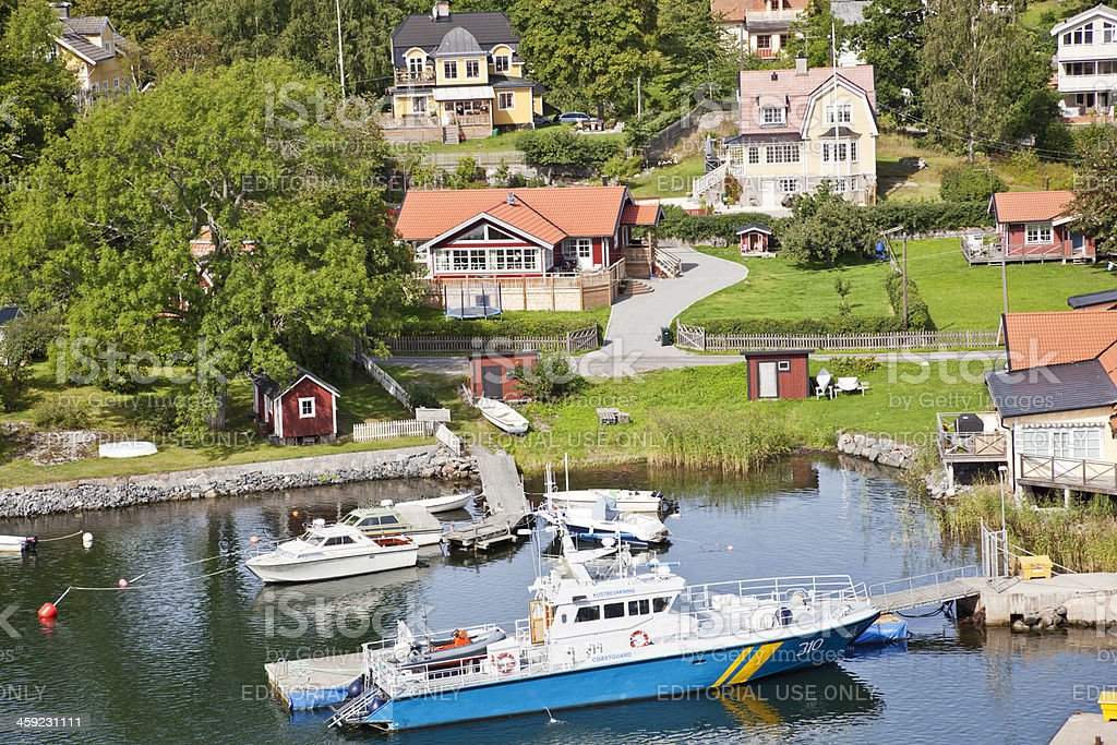 Coast guard boat at anchor in Furusund, Stockholm Archipelago. stock photo