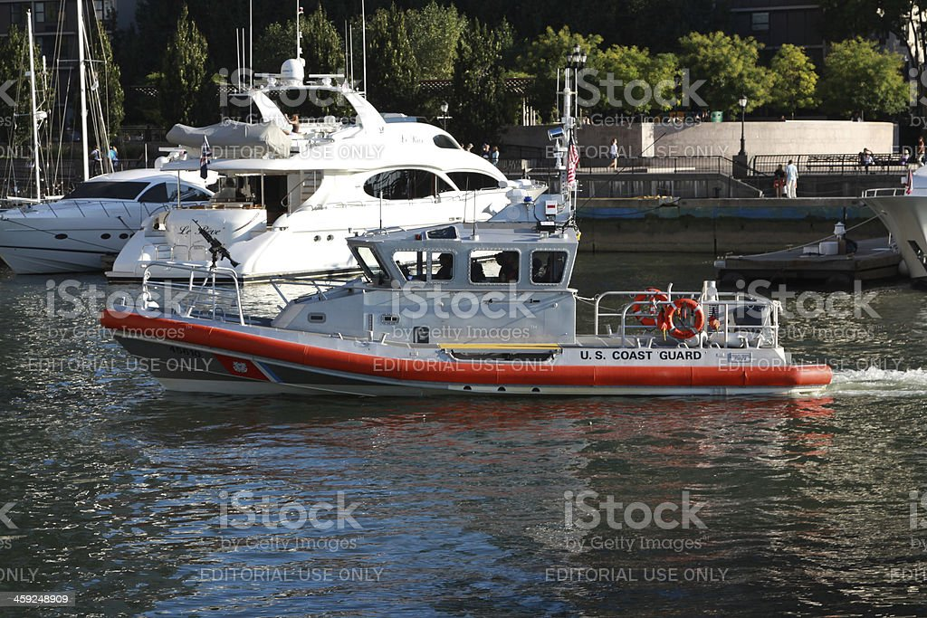 Coast Guard Boat on Patrol in New York City royalty-free stock photo