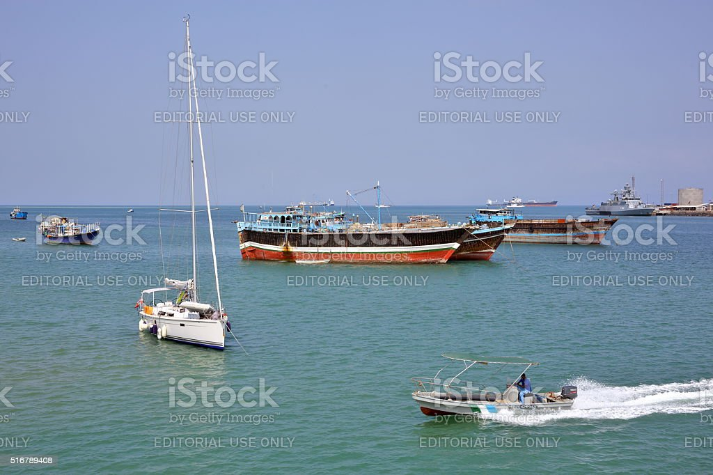 Coast Guard boat patrol in the port stock photo