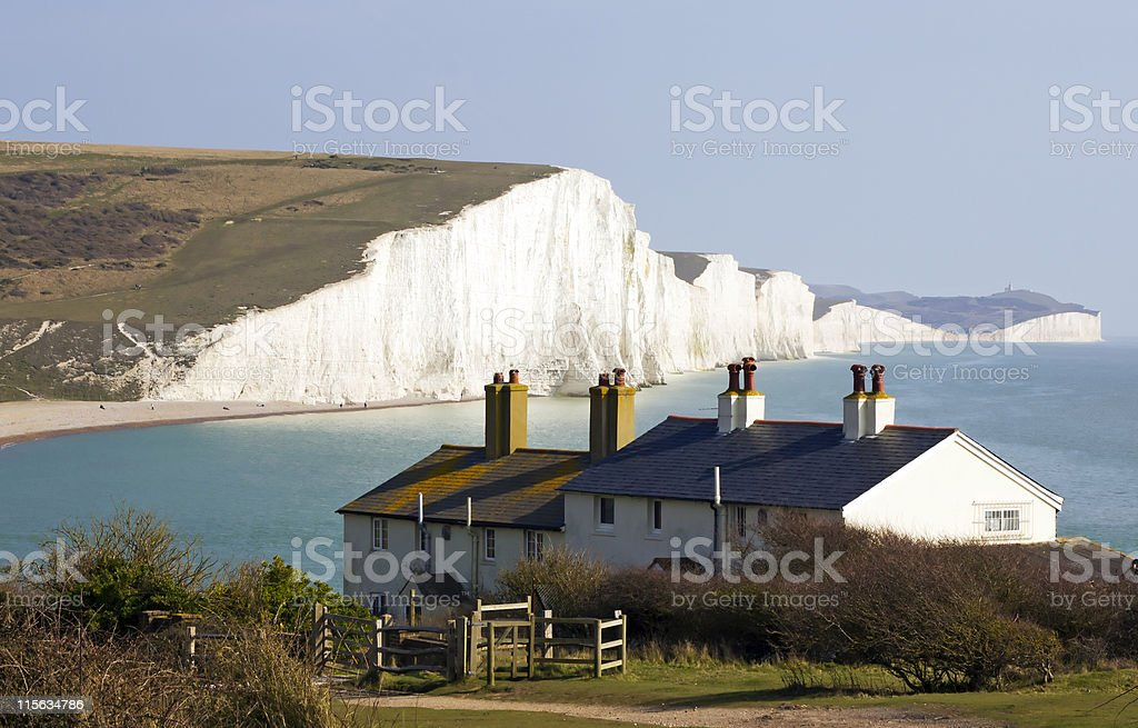 Coast Guard Cottages & Seven Sisters stock photo