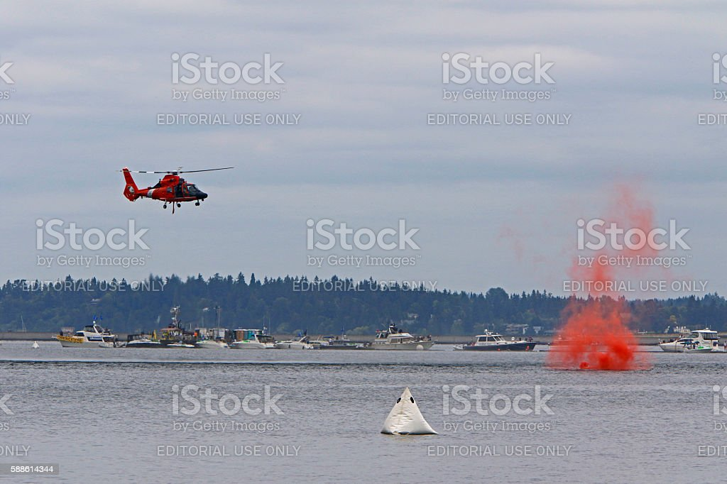 Coast Guard helicopter approach stock photo