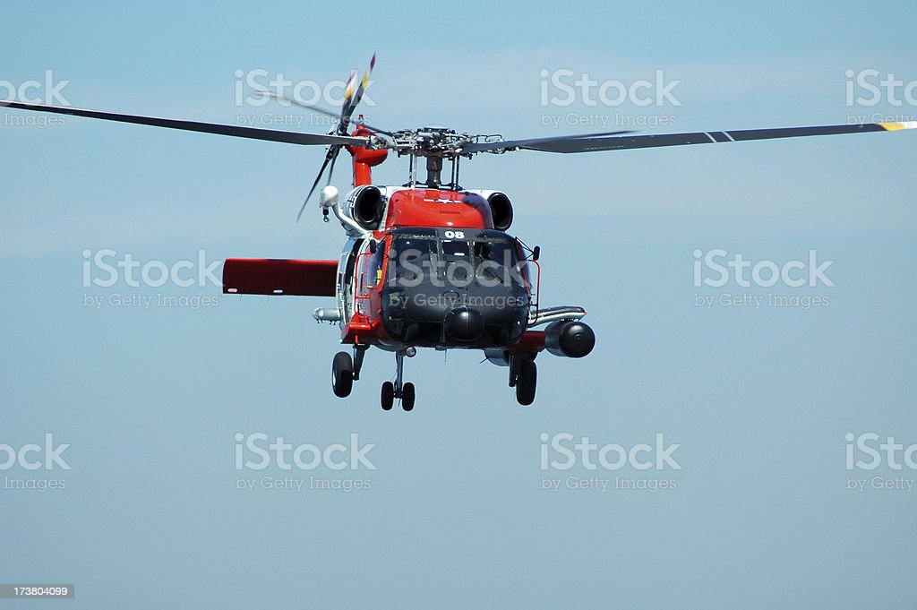 Coast Guard Helicopter Hovering stock photo