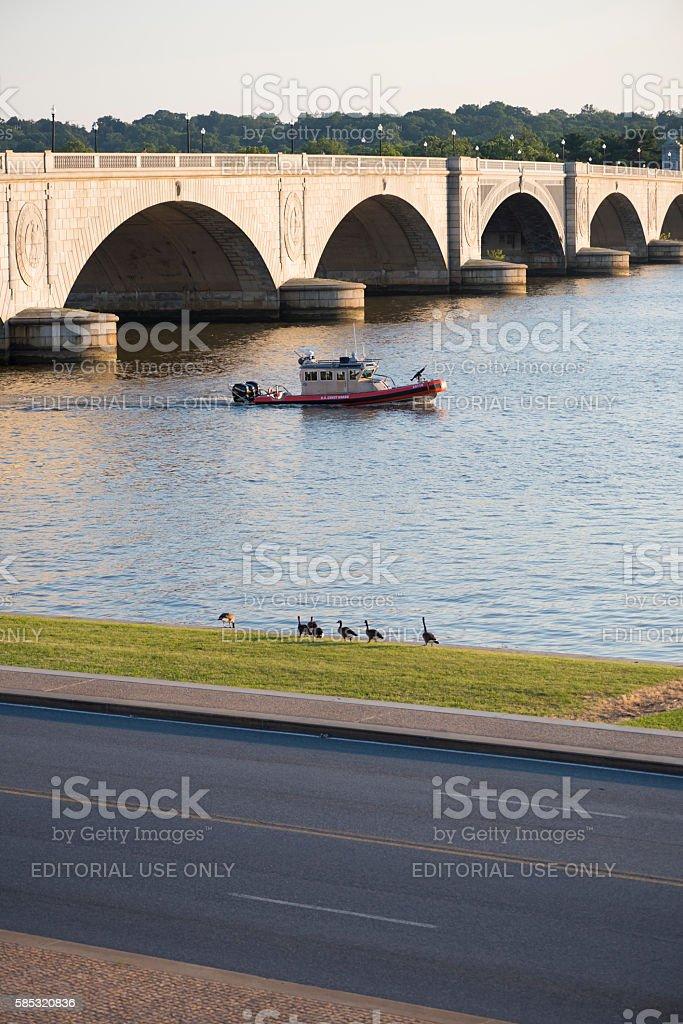 U.S. Coast Guard on Potomac River, Washington DC stock photo