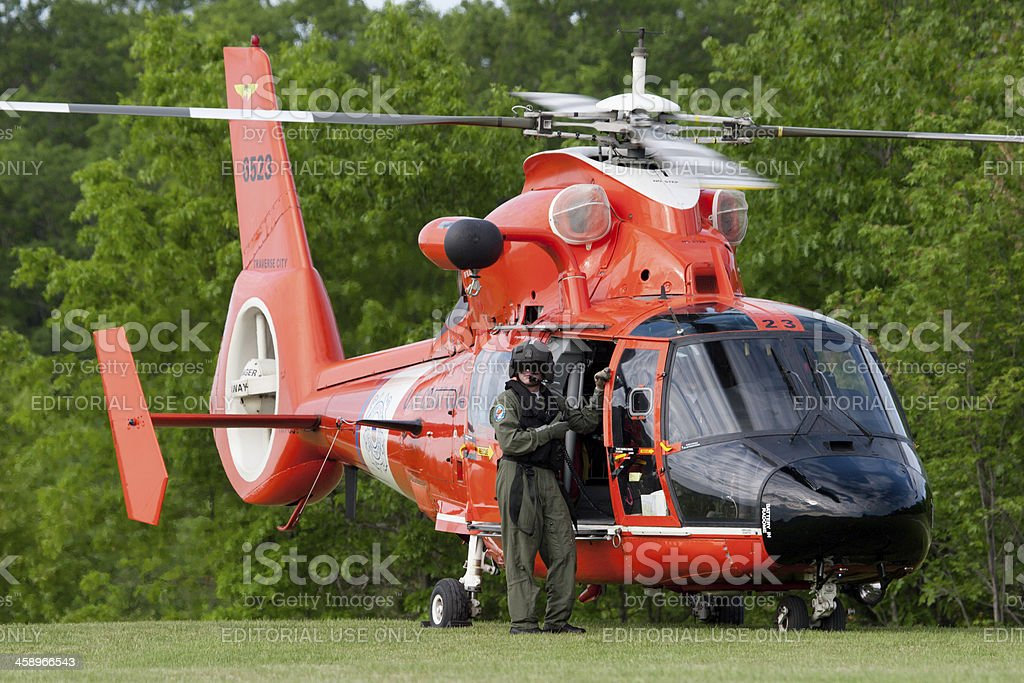 Coast Guard Rescue Helicopter royalty-free stock photo