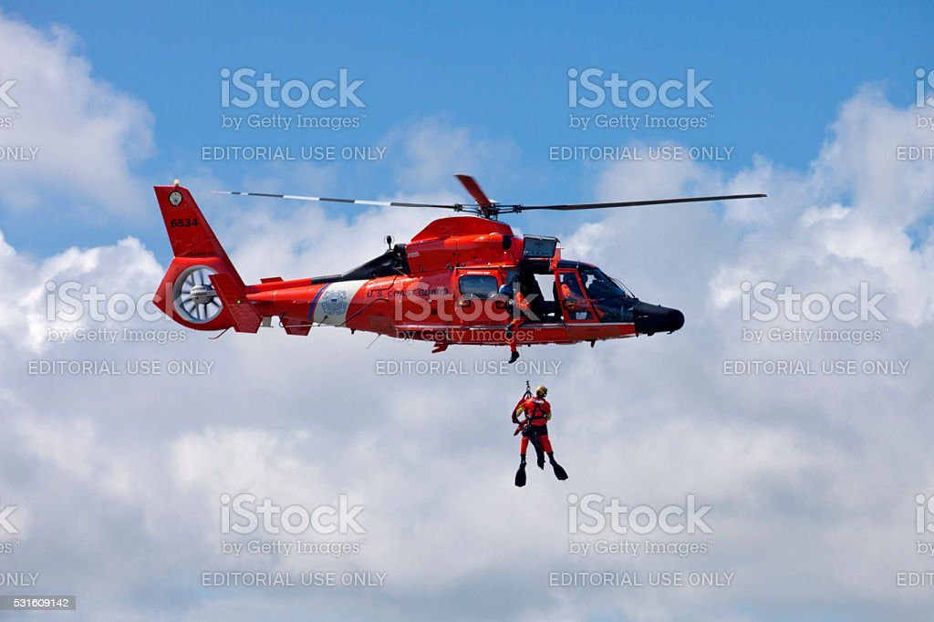 Coast Guard Rescue Helicopter stock photo