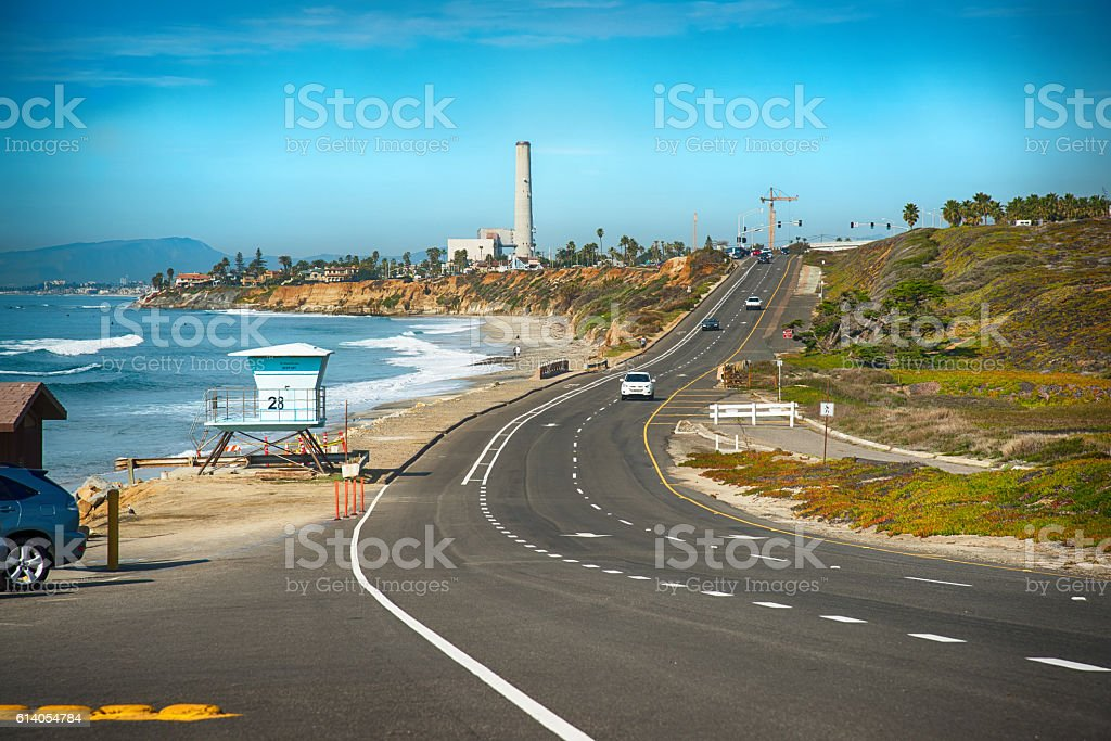 Coast Highway 101 Along the Pacific in Carlsbad California stock photo