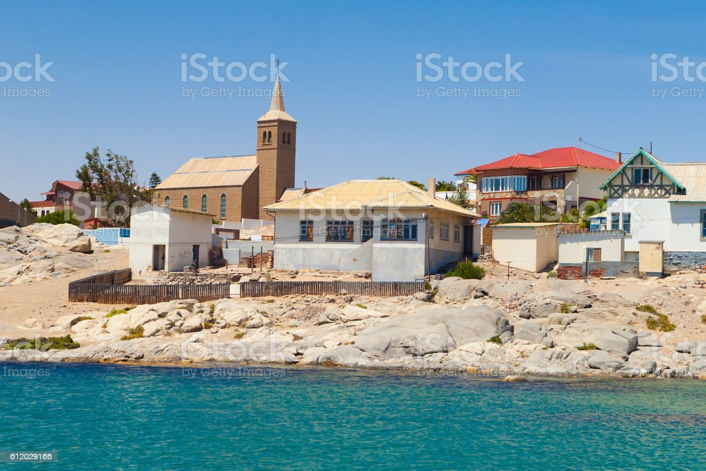Coast houses and church in Luderitz stock photo