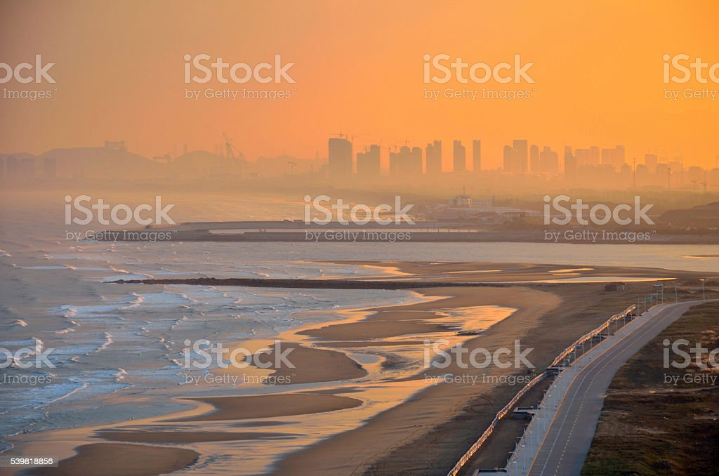 Coast line in the morning, Yantai, China stock photo