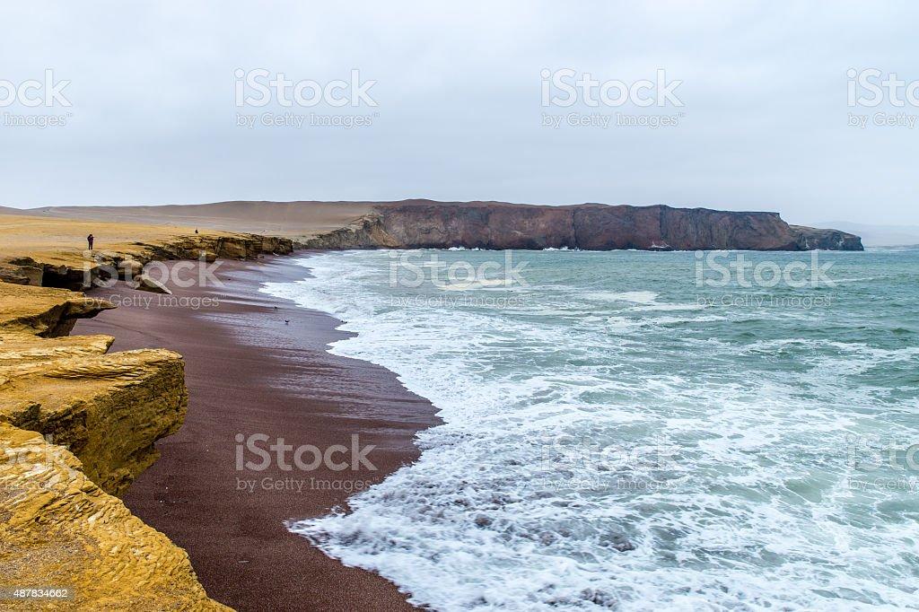 Coast line of ballestas islands peru stock photo