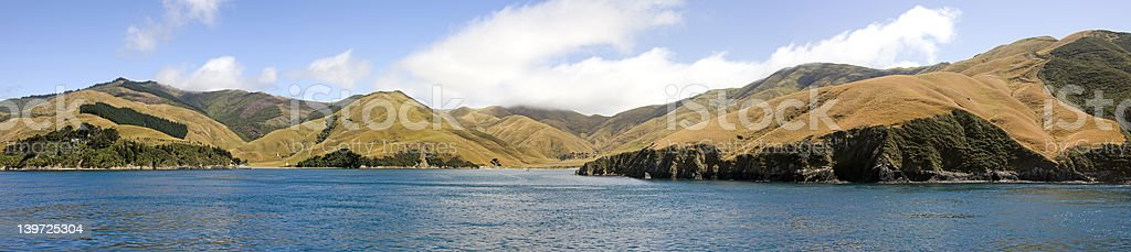 Coast near Picton, South Island, New Zealand stock photo