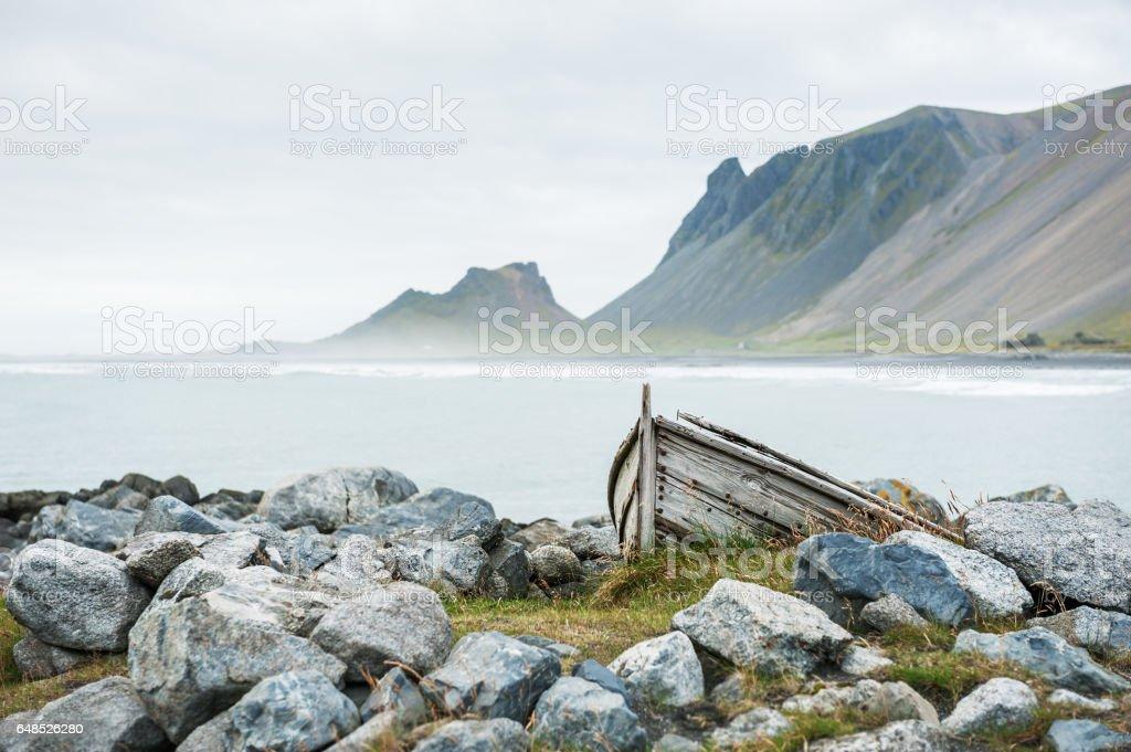 Coast of Atlantic ocean in East Iceland.  Selective focus stock photo