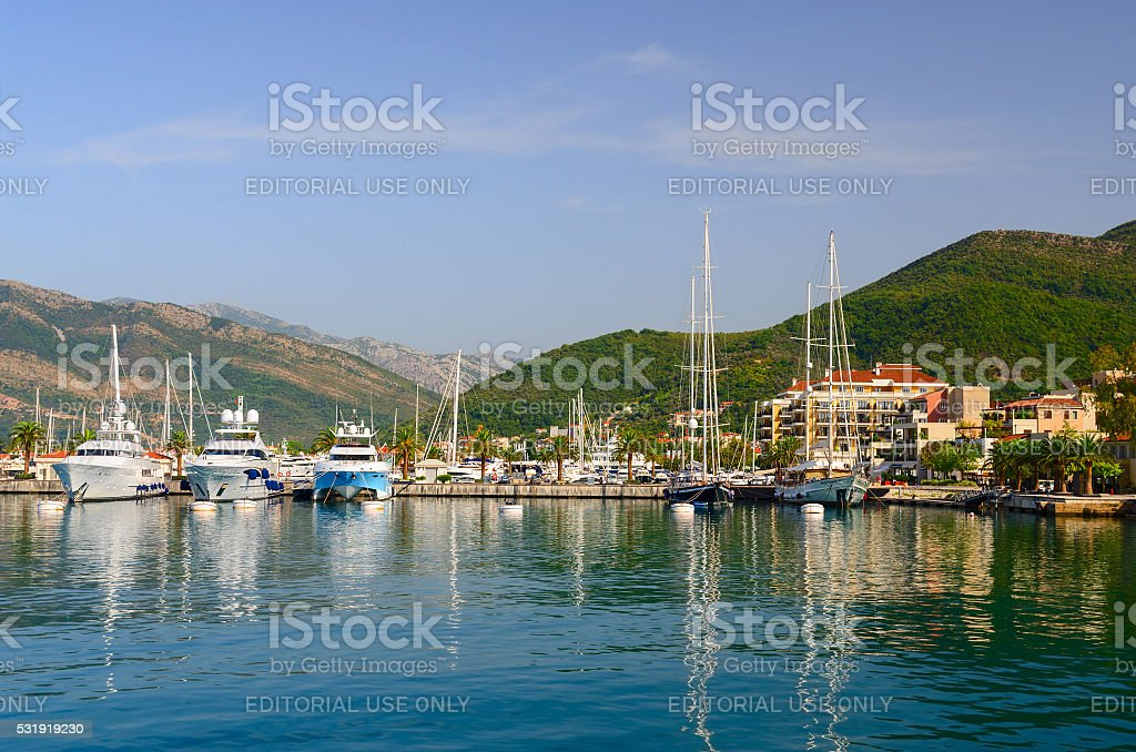 Coast of Bay of Tivat, Tivat, Montenegro stock photo