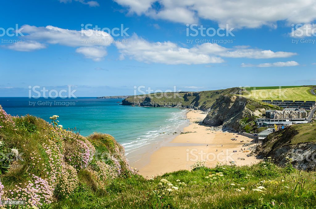 Coast of Cornwall on a Clear Spring Day stock photo