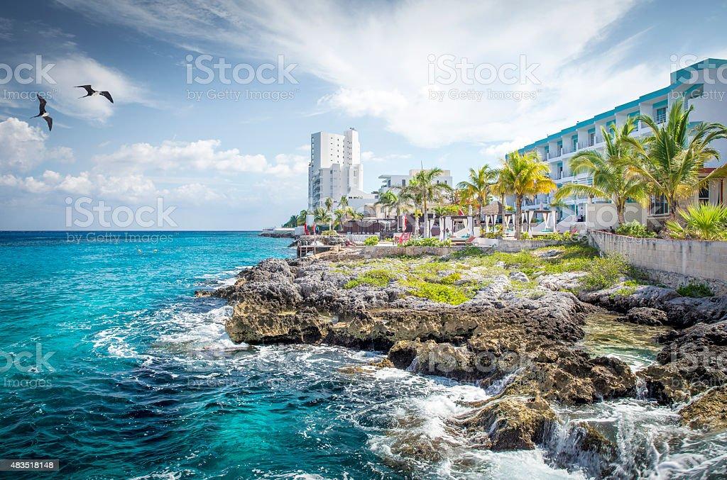 Coast of Cozumel island, Mexico stock photo