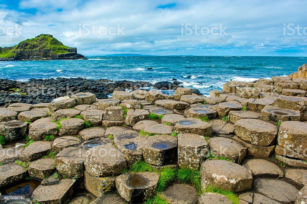 Coast of Giants Causeway in Northern Ireland stock photo