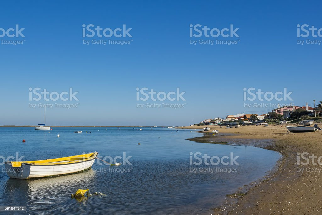 Coast of Ilha de Faro, Portugal stock photo
