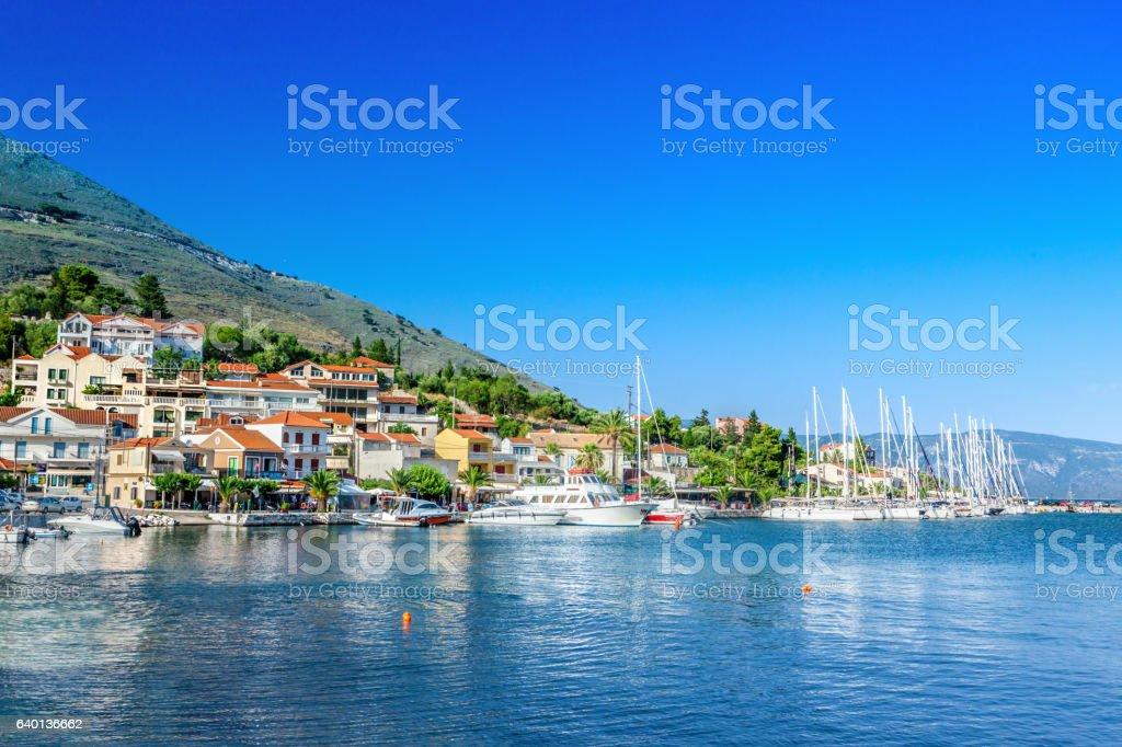Coast of Kefalonia island in Agia Efimia village, Greece stock photo