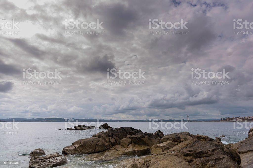 Coast of La Coruna. stock photo