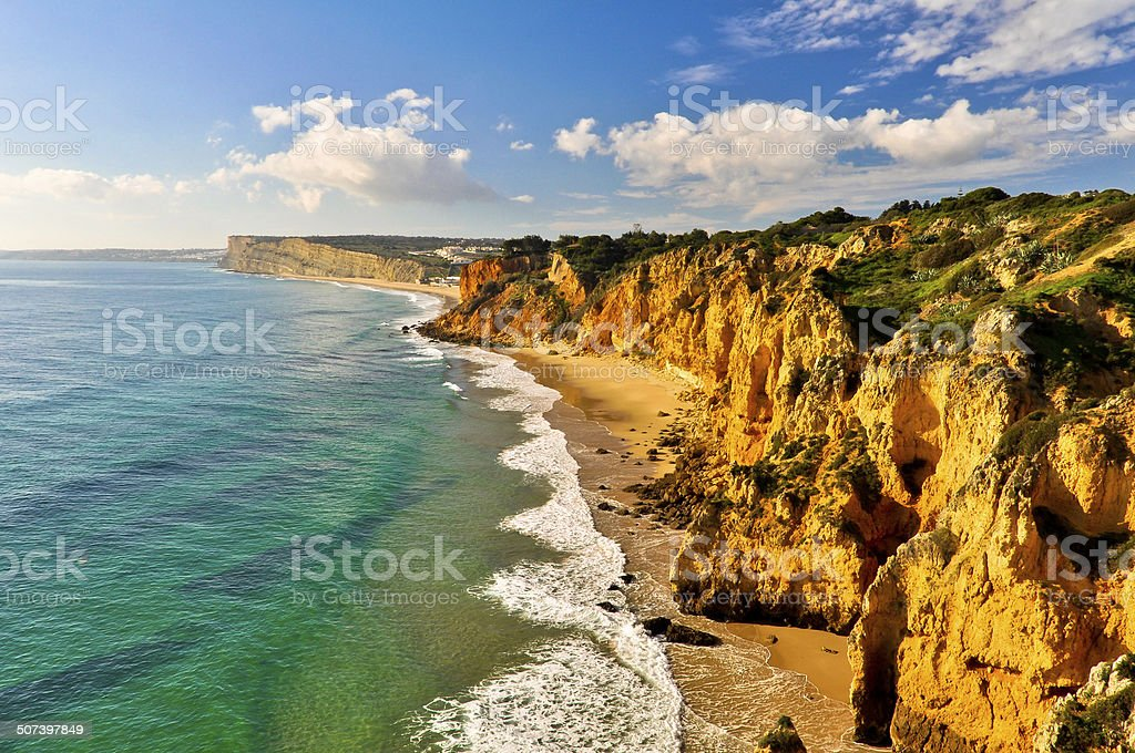 Coast of Lagos with Rocks and Cliffs stock photo