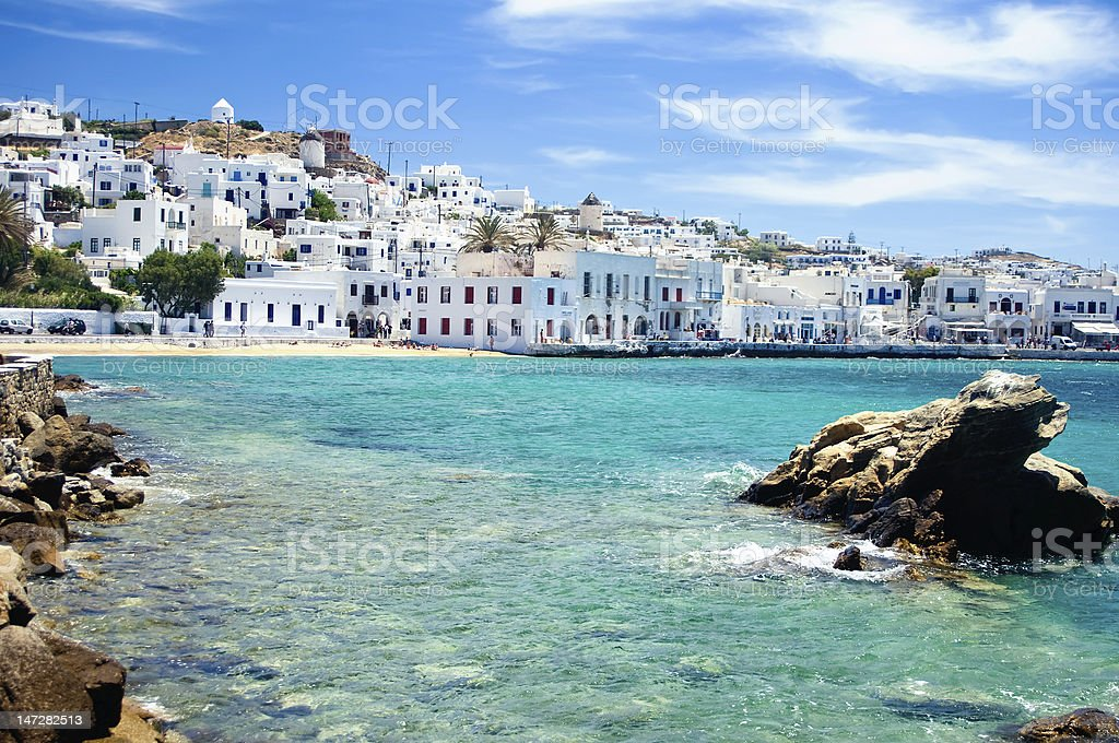 Coast of Mykonos Town stock photo