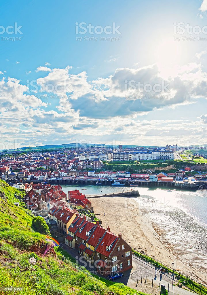 Coast of North Sea in Whitby in North Yorkshire, England stock photo