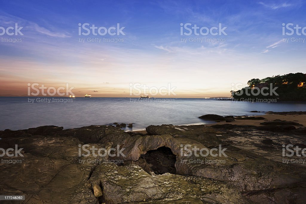 Coast of ocean before dawn - landscape royalty-free stock photo