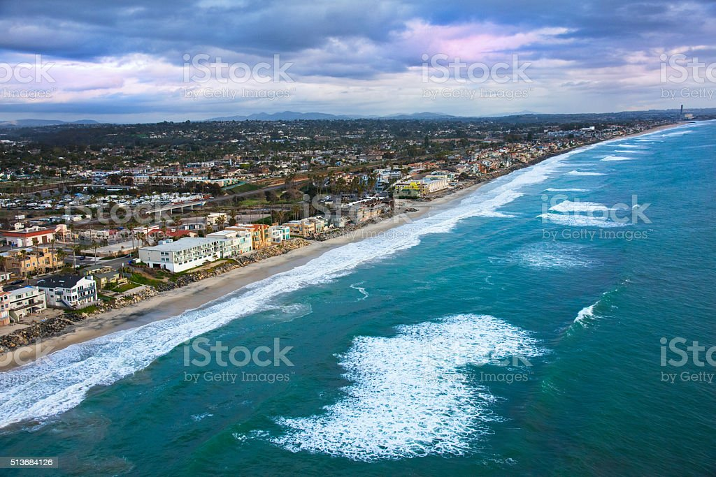Coast of Oceanside and Carlsbad California From Above stock photo