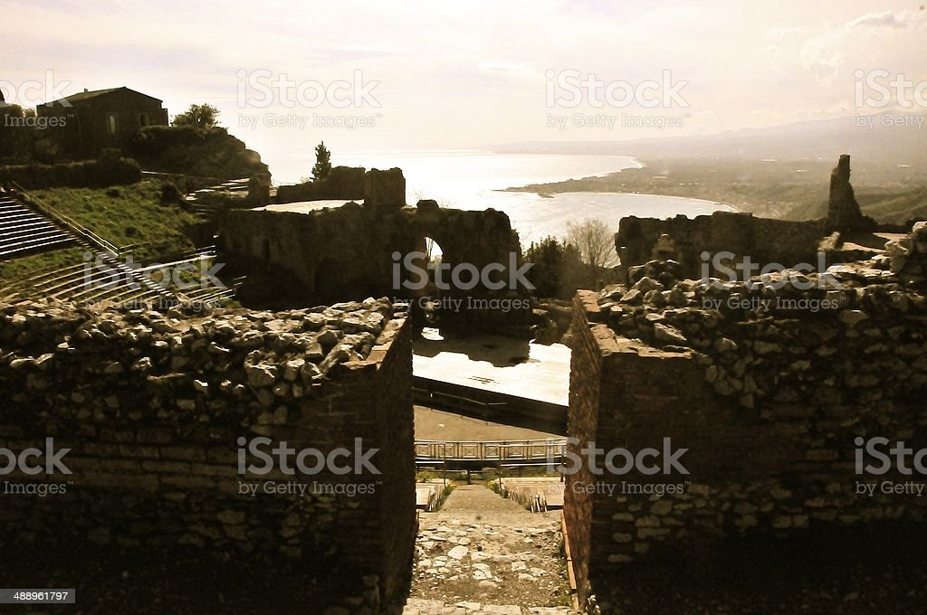 Coast of Sicily from Taormina stock photo