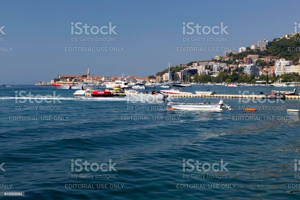Coast of the city of Budva, Montenegro. stock photo