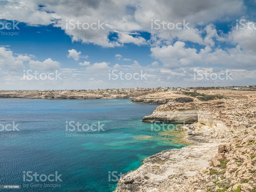 Coast of the Island of Lampedusa, Sicily, Italy stock photo