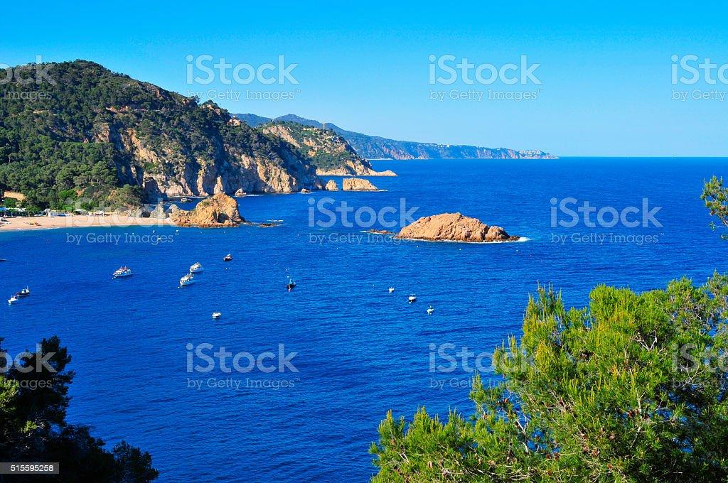 coast of Tossa de Mar, in the Costa Brava, Spain stock photo