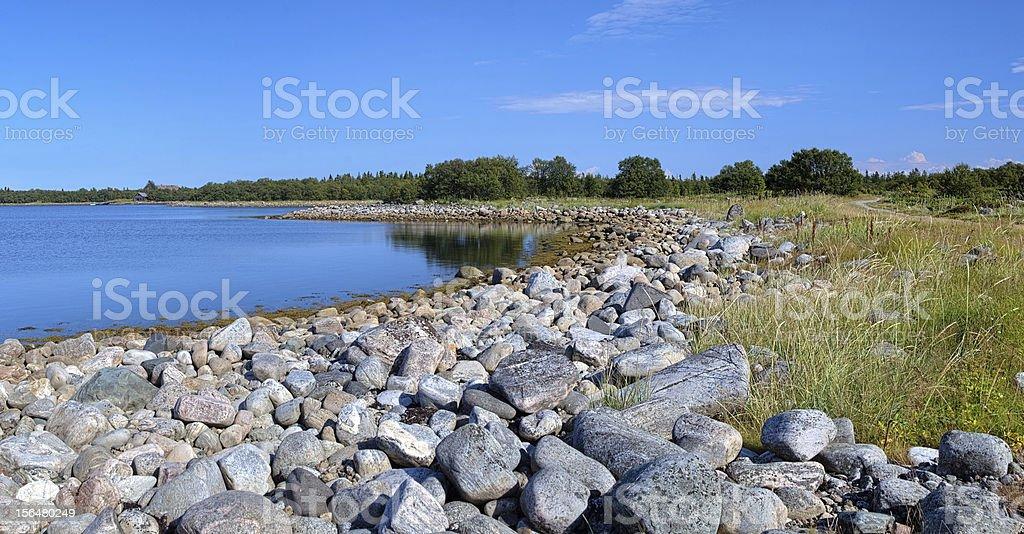 Coast of White Sea on Bolshaya Muksalma Island, Russia stock photo