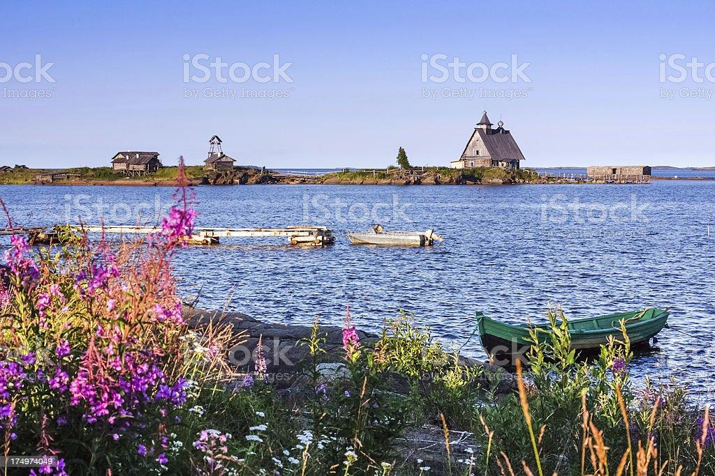 Coast of White Sea stock photo