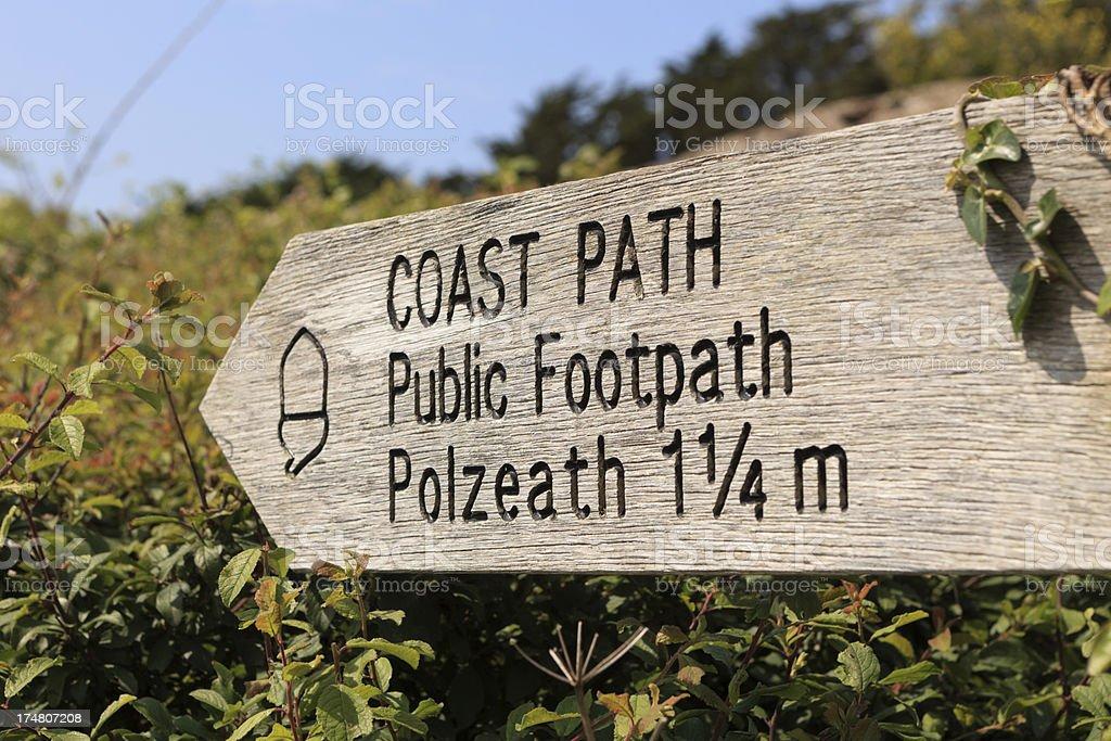 coast path sign to Polzeath stock photo