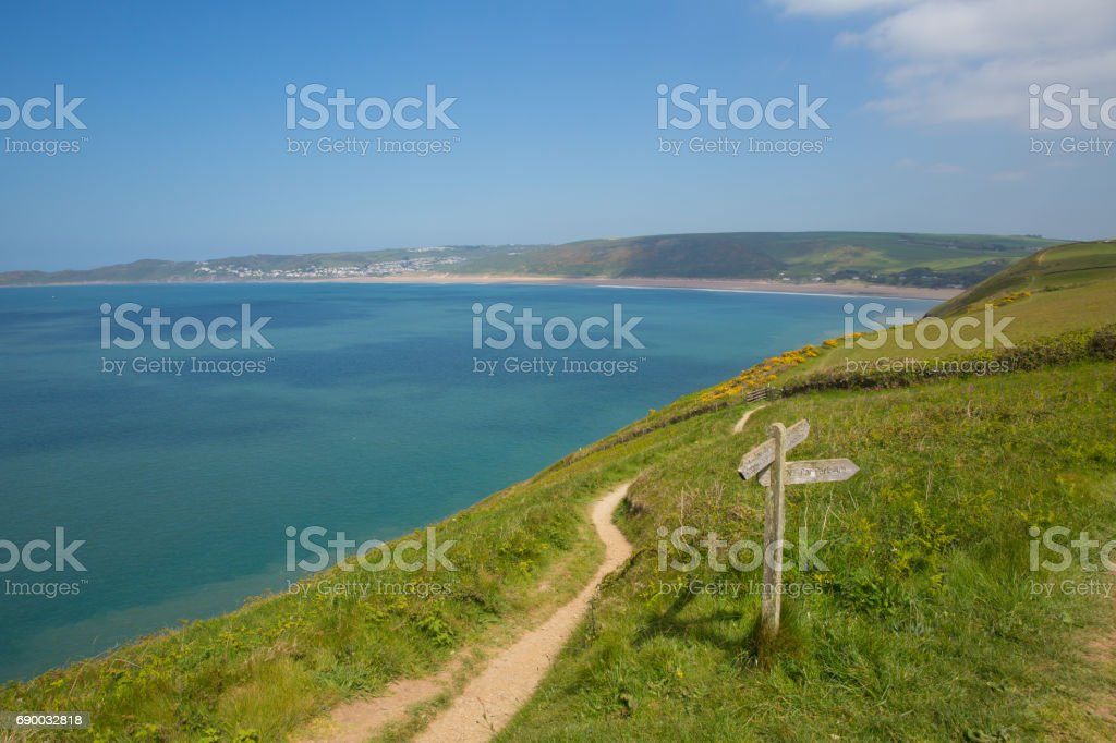 Coast path to Woolacome Devon England UK in summer with blue sky stock photo