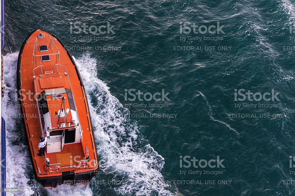 Coast pilot preparing to guide a cruise in Barcelona stock photo