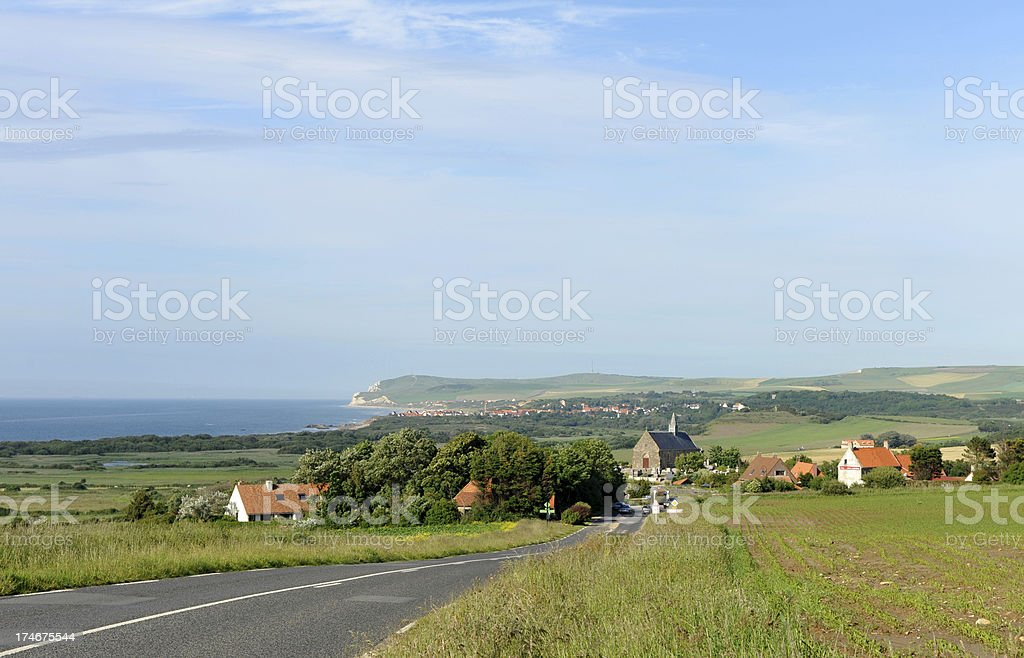 Coast road between Calais and Boulogne in Northern France. stock photo