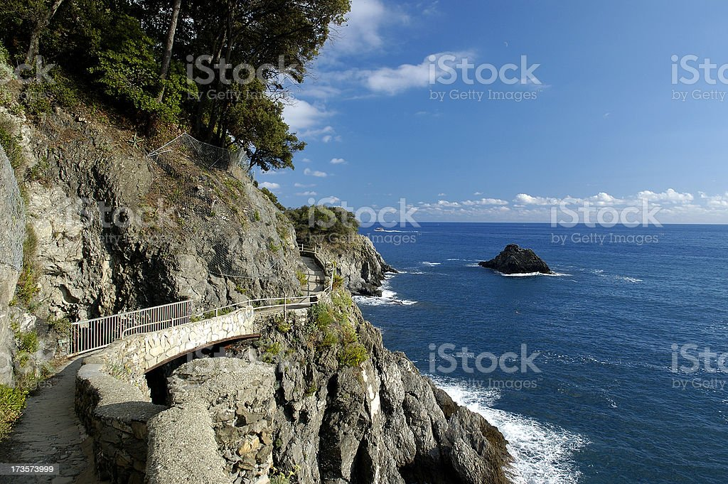 Coast view walking path in Cinque Terre, Italy royalty-free stock photo